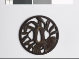 Tsuba with fan, leaves, and dew drops