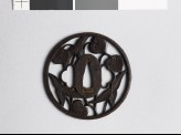 Round tsuba with arrowhead and aoi, or hollyhock leaves (EAX.10431)