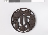 Round tsuba with writing impliments (EAX.10771)