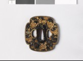 Mokkō-shaped tsuba with peonies and shishi, or lion dogs