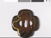 Mokkō-shaped tsuba with weeping willow and boats (EAX.10967)