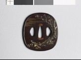 Tsuba with blossoming plum tree and chrysanthemum plant (EAX.11073)