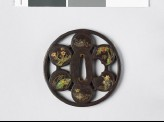 Round tsuba with trees and flowers (EAX.11173)