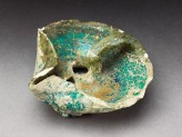 Oil lamp with turquoise glaze