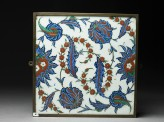 Tile with serrated leaves and flowers (EAX.3215)