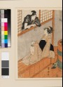 A woman in a bath house talking to a man through the window (EAX.4676.c)