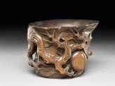 Bamboo cup with peach branches (EAX.5284)