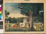 Shiva, sitting on a lion skin with Parvati nearby, incinerates Kama with his third eye