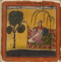 A lady offers milk to a snake, illustrating the musical mode Ramakali Ragini
