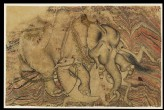 Enraged elephant attacking a horse
