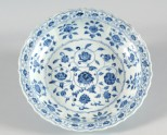 Blue-and-white dish with floral decoration