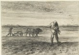 Man ploughing and another sowing