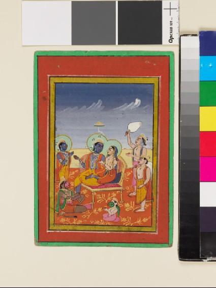 Rama and Sita seated on throne with attendant Hanuman and Garudafront