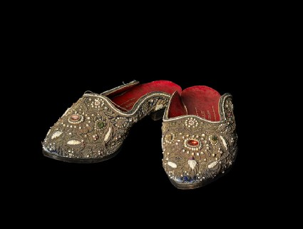 Pair of woman's ceremonial embroidered slippersoblique