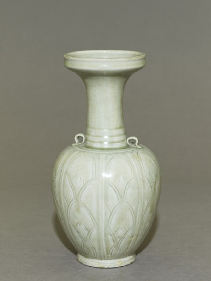 Greenware vase with floral decorationoblique