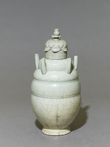 Greenware burial vase with lid in the form of a lotusoblique