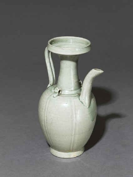 Greenware ewer with incised linesoblique