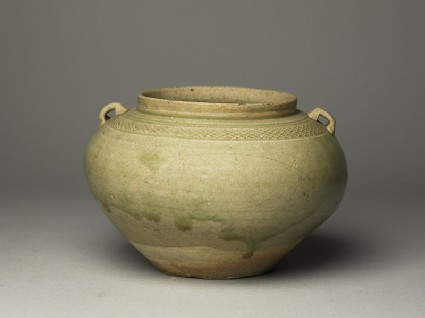 Greenware guan, or jar, with loop handlesoblique