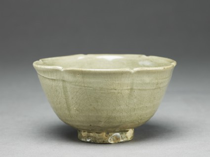 Greenware bowl with lobed rim and sidesoblique