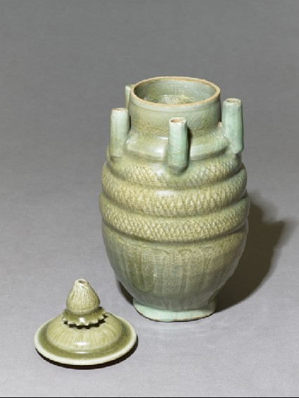 Greenware vase with five spouts and lidoblique, open