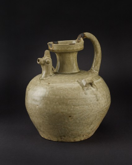 Greenware ewer with chicken head spoutoblique