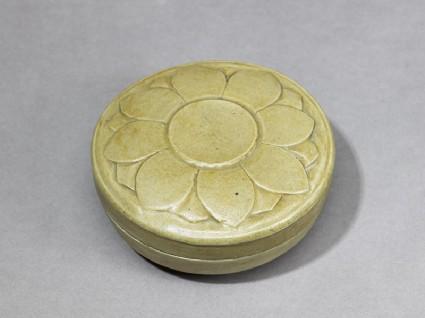 Greenware box with lotus floweroblique