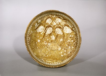 Bowl with seated figures by a streamtop