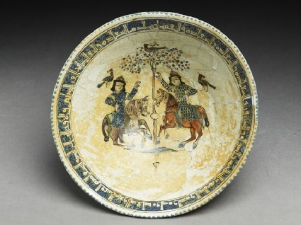 Bowl with paired riders inscribed with good wishestop