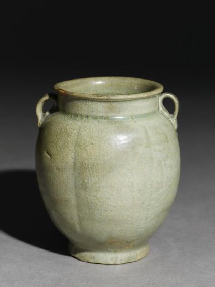 Greenware six-lobed jar with petalsoblique