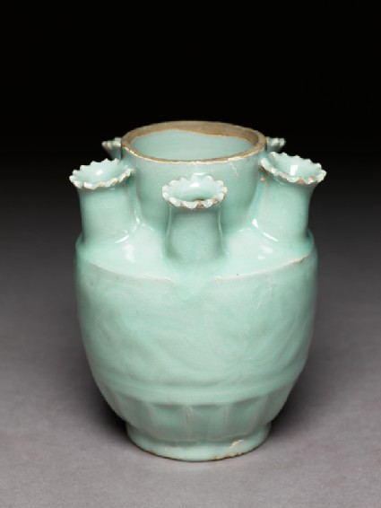 Greenware funerary jar with spouts for holding incenseoblique
