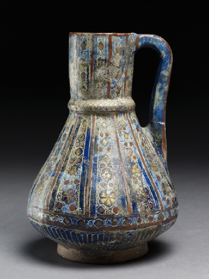 Jug with floral and geometric decorationside