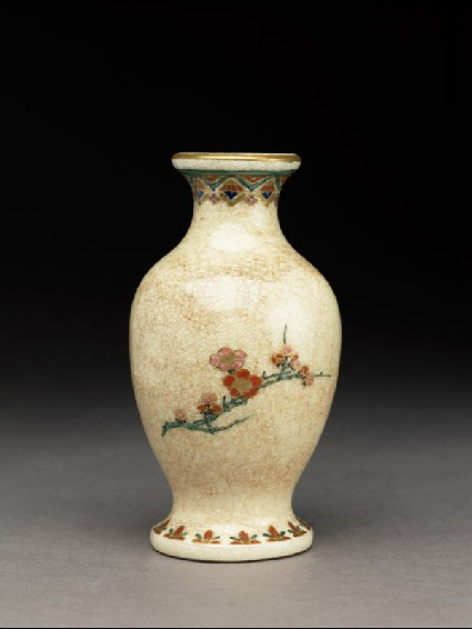 Satsuma baluster vase with plum blossomfront