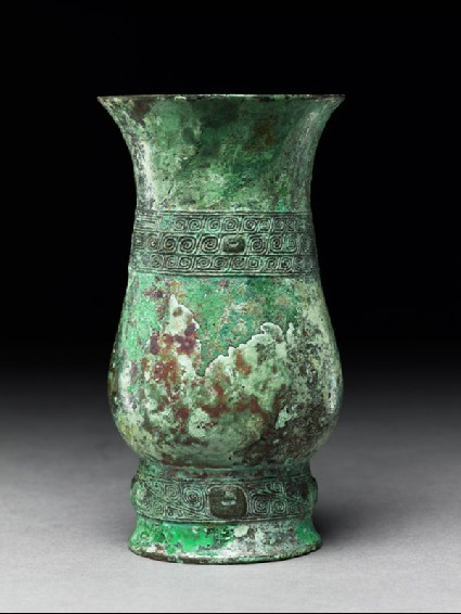 Ritual wine vessel, or zhi, with thunder-scroll patternside