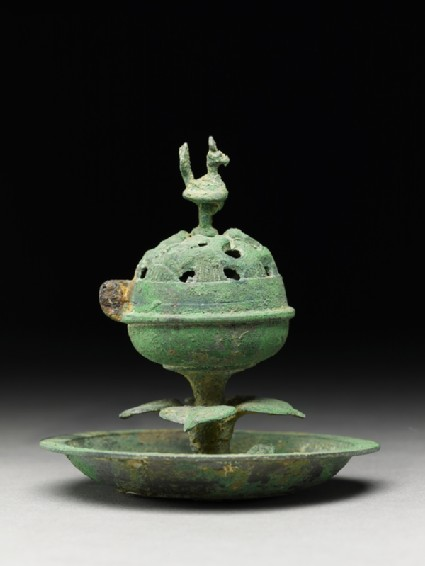 Boshanlu, or hill censer, surmounted by a birdside