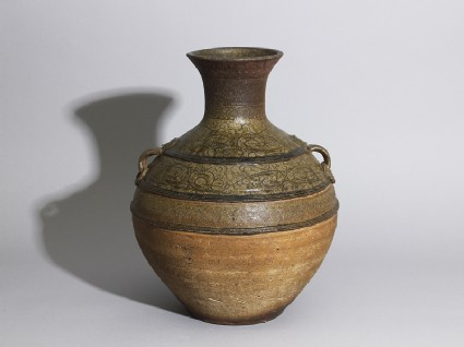 Greenware wine vessel, or hu, with serpent-like decorationoblique