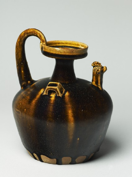 Black ware ewer with chicken head spoutoblique
