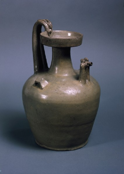 Greenware ewer with two chicken head spoutsoblique