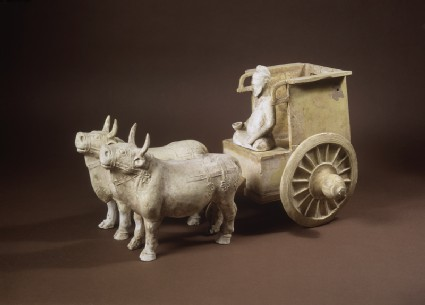 Earthenware model of oxen and cartoblique
