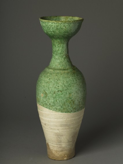 Long-necked vase with green glazeoblique
