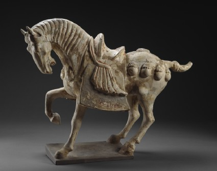 Earthenware figure of a horseside