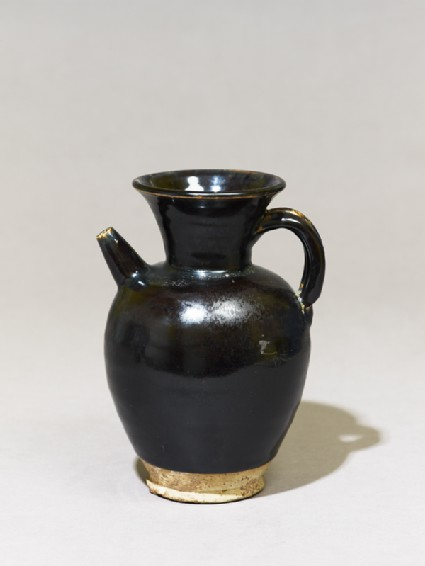 Black ware ewer with iron glazeoblique