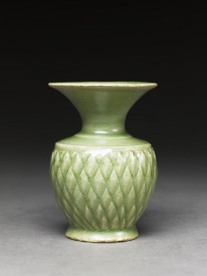 Greenware vase with diamond-shapesside
