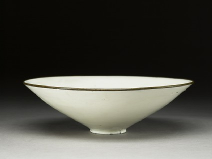 White ware bowl with floral decorationoblique