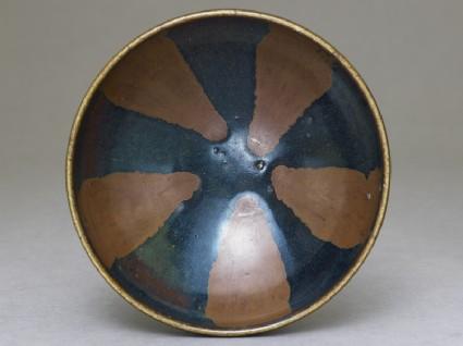 Black ware bowl with brown stripestop