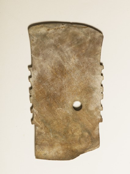 Notched ceremonial blade in imitation of a functioned axeside