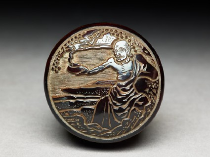 Kōgō, or incense box, depicting Handaka Sonja conjuring a dragon from his bowltop