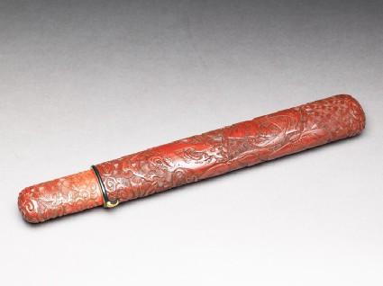 Pipe case depicting the story of Urashima Tarōoblique