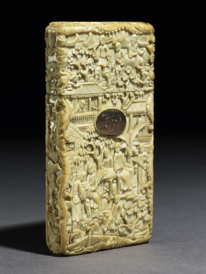 Ivory card case with figures and buildingsside
