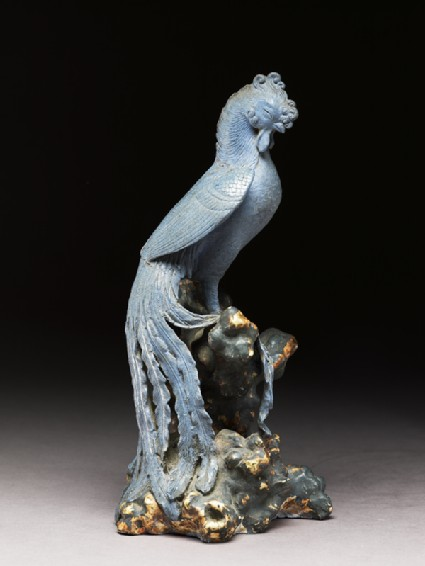 Blue Bizen ware figure of a phoenixside