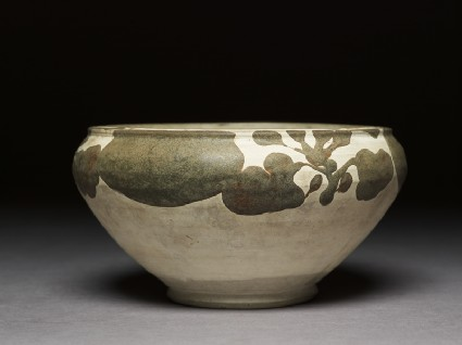 Alms bowl with floral decorationside